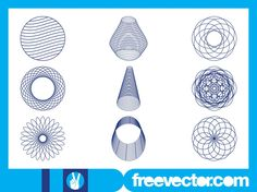 Geometry and abstract art vector footage of different wireframe layouts. Stylized flowers, round layouts, 3D cones and an abstract curved shape made of thin lines. Free vectors for your geometry, geometric shapes and abstract art visuals. Graphics for abstract posters and adverts. Wireframe Designs Set by DG for FreeVector.com