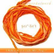 5er Set Seiden Bänder in Apricot-Orange Tönen