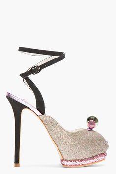SOPHIA WEBSTER Mauve Glitter Bardot Ankle-Strap Heels