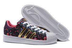 detailed look f5c31 b096d 2016 Kvinders Adidas Originals Superstar  Udskriv Sko Floral Sort Guld  B35441 Russian Bloom Modesko