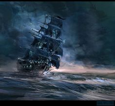 Pirates Age Card Game illustration_ by cgfelker on DeviantArt Pirate Art, Pirate Life, Pirate Ships, Pirate Crafts, Pirate Skull, Ship Paintings, Seascape Paintings, Pirate Ship Tattoos, Bateau Pirate