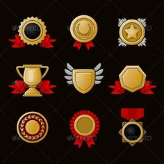 Achievement Icons Set ...  achievement, award, background, badge, banner, best, certificate, competition, design, emblem, first, gold, icon, illustration, isolated, medal, medallion, place, prize, ribbon, set, shield, sign, star, success, symbol, trophy, vector, victory, winner