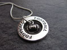 Football Necklace: Silver Football Charm Necklace on Etsy, $20.00
