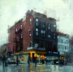 Painting by Jeremy Mann Urban Painting, City Painting, Paintings I Love, Beautiful Paintings, Pintura Exterior, Urbane Kunst, City Art, Urban Landscape, Anime Comics