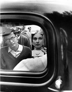Henry Wolf - Audrey in Car with Mirror, Avedon Looking On, 1959