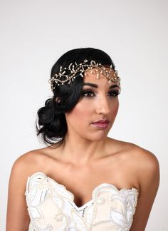 """Z MALAN """"DIVINE' Hand beaded statement headband with Swarovski crystals and pearls for wedding, bridal, and special occasions   www.zmalan.com"""