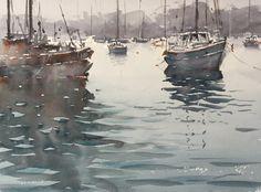 Ian Michael McManus - Watercolour Artist Art Pics, Art Pictures, Watercolor Artists, Watercolour, Yellow Cottage, Wood Bridge, Landscape Paintings, Boat, Gallery