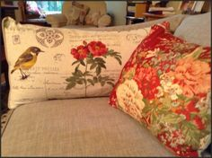 The Paris music fabric with birds and script used as throw pillows!