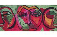 Calin-Uricaru Luxandra,  FORȚA CULORII- Mască africană,Panou decorativ-pigment,dimensiuni 110 cm/240 cm. on ArtStack #calin-uricaru-luxandra #art
