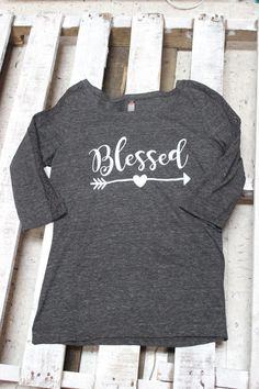 Blessed shirt 3/4 Sleeve raglan with lace sleeve. Ladies cut shirt