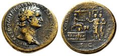 "Ancient Coins - Domitian Sestertius ""FRVG AC Platform, Citizens, Temple"" Secular…"