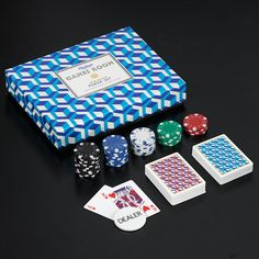 Ridley's Games Room Poker Set.  Striking design, bold colours!  #wildandwolf #ridleys #games #poker #mensgifts #giftidea