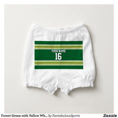 Forest Green with Yellow White Stripes Team Jersey Diaper Cover