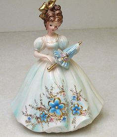 Josef Originals Girl figurine doll w/ Parasol Blue dress w/ Flowers 9 Vintage Dolls, Retro Vintage, Glass Dolls, Dresden Porcelain, China Dolls, Collectible Figurines, Beautiful Dolls, Girly Things, Pink Flowers