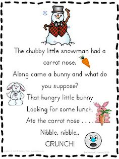 Chubby little snowman poem freebie - mini pocket chart word strips and pictures, writing activity