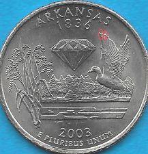 2003 P - ARKANSAS STATE QUARTER ERROR COIN - REV DIE CHIPS - OBV DIECRACK UNCIRC