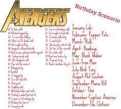 AAM - Avengers Birthday Scenario: = Set fire to the rain with Phil Coulson Birthday Scenario Game, Birthday Games, Humor Birthday, Half Birthday, Birthday Crafts, Name Generator, Name Games, Avengers Birthday, Phil Coulson