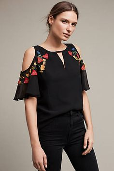 Accalia Open-Shoulder Blouse