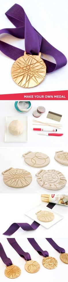 Make your own medal - this would be so fun for the kids