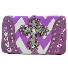 Rhinestone Cross on Chevron Wallet