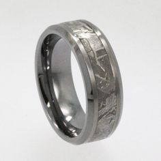 Men's Tungsten Ring - Band inlaid with rare Gibeon Meteorite - Unique Combination of Materials (New1004)
