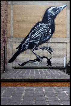 ROA - bird - skeleton - urban art - street art - graffiti
