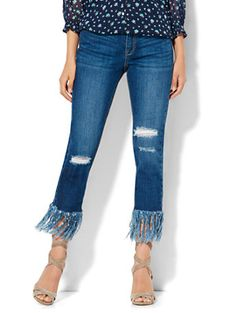 Shop Soho Jeans - Frayed Hem & Destroyed Relaxed Boyfriend - Force Blue Wash . Find your perfect size online at the best price at New York & Company.