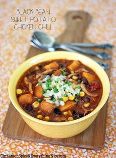 Black Bean, Sweet Potato and Chicken Chili