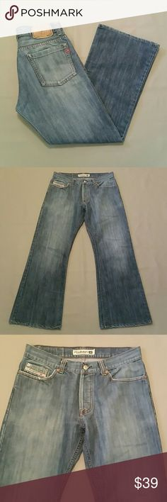Diesel Industry Distressed Boot Cut Jeans 34 -34W/30L -Made in Thailand  -Button Fly Diesel Jeans Bootcut