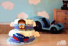 Torta di pannolini Baby Aviatore (45 pannolini Pampers Baby Dry tg.3)