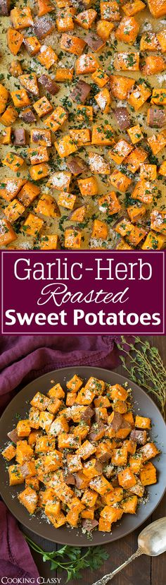 I LOVE roasted sweet potatoes so I thought these were great. Garlic-Herb Roasted Sweet Potatoes with Parmesan - an easy side that's perfect for fall! Love how the parmesan balances out the sweetness. Side Dish Recipes, Vegetable Recipes, Healthy Side Dishes, Clean Eating Recipes, Cooking Recipes, Vegetarian Recipes, Healthy Recipes, Easy Recipes, Side Dishes