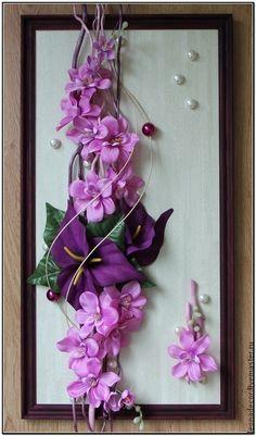 Панно Ceramic Flowers, Clay Flowers, Flower Frame, Flower Art, Ikebana, Branch Decor, Paper Flower Tutorial, Giant Paper Flowers, Autumn Wreaths