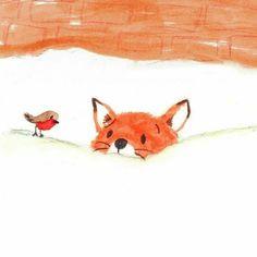 Sunday mood by ❣️looks like our cat amuseeveryday fox illustration illustrator Doodle Drawings, Cute Drawings, Drawing Sketches, Fuchs Illustration, Cute Illustration, Bird Doodle, Bird Sketch, Robin Bird, Fox Art