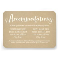 Accomodation card wording invitati wedding enclosure cards with hotel reservation information feature accommodations in charming white script custom text that can be personalized filmwisefo
