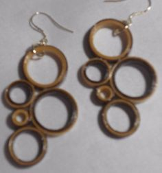 """Brown and Tan  Handcrafted Paper Earrings """"Fun with Circles"""" #Handmade #DropDangle"""