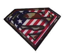 Superman Camo Logo Shield Embroidered 4 Inches Wide Iron On Patch DC Licensed #DC