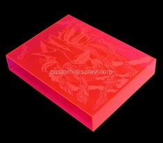 Custom printing pink acrylic book case, custom lucite case Custom Printing, Pink Acrylics, Silk Screen Printing, Acrylic Box, Laser Engraving, Bookcase, Prints, Screen Printing Press, Screen Printing