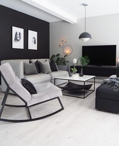 Living Room Decor Cozy, Living Room Grey, Home Living Room, Apartment Living, Black White And Grey Living Room, Male Apartment, Simple Apartment Decor, Living Walls, Home Room Design