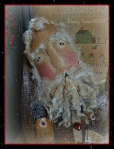 A PriMiTiVe OLDE THyME SanTa CLaUS CHriSTMaS DoLL ~SHeLF SiTTeR ~Stump DOLL #NaivePrimitive #WendyTurner2014