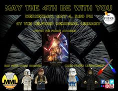 May the Fourth be with you! Celebrate Star Wars Day on Wednesday, May 4th, at 5:30 p.m., at the Milford Memorial Library!