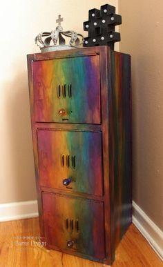 Updating Vintage Metal Lockers – J Burns Design Funky Furniture, Refurbished Furniture, Paint Furniture, Repurposed Furniture, Furniture Projects, Furniture Makeover, Furniture Decor, Metal Lockers, Furniture Inspiration