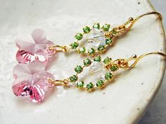Cherry Blossoms Earrings Swarovski Pink Flower by smallbluethings, $26.00