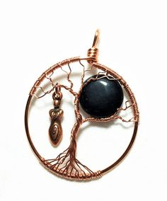 Goddess Tree-of-Life Pendant, Copper Tree of Life with Black Moon, Black Onyx Necklace by SassyMyDesigns on Etsy
