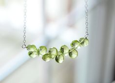 Peridot Necklace on Sterling Silver. Green by happylittlegems