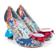 Irregular Choice Alice In Wonderland 4298-02A Curious Feeling Womens Character High Heel Shoes - Dark Blue & Gold Floral