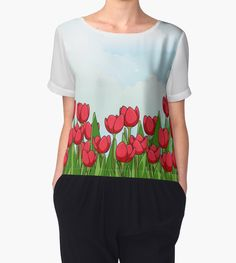 Pretty Red Tulips and Sky T Shirts | Tanks | Tops | iPad Cases | iPhone Cases | Mugs | Pillows and More! Buy at http://www.redbubble.com/people/bitsnbobs/works/22358125-pretty-red-tulips-and-sky?p=chiffon-top