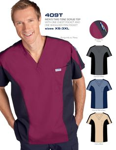What a great top. This men's scrub top from MOBB Medical is just what the doctor ordered. A little bit of style with a whole lot of comfort. This two-tone v-neck is available in 4 different color ways. Scrubs Outfit, Scrubs Uniform, Men In Uniform, Scrub Suit Design, Nursing Jackets, Medical Scrubs, Nursing Scrubs, Medical Uniforms, Dental