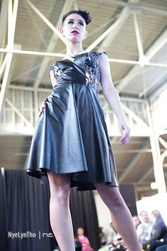 Shades Company: Black and White leather and stretch dress on Etsy #shadescompany #queerfashionweek