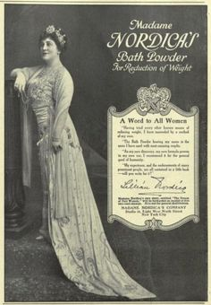 1913 Vintage Advert - Madame Nordica's Bath Powder for reduction of weight (lillian Nordica was a famous opera singer)