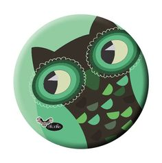 Large Magnet with Crazy GREEN OWL Illustration by Sloshe on Etsy, $3.00